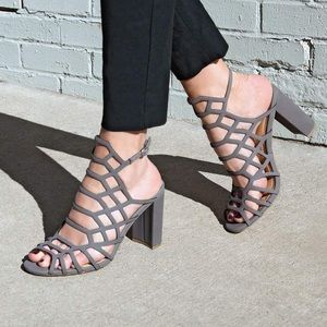 Kryptic Grey Caged Open Toe High Heels